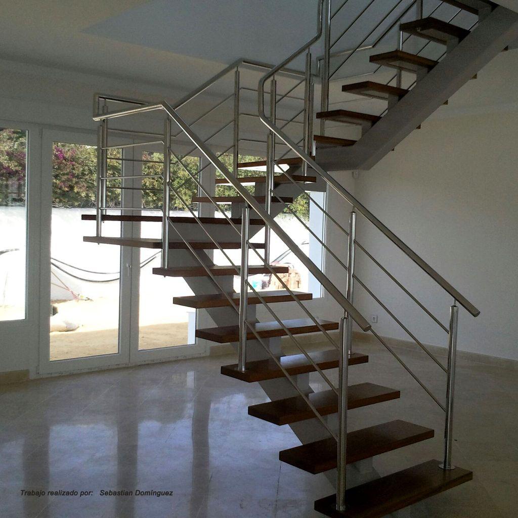 Escalera con pelda os de madera n 8 acero inoxidable - Peldanos de escaleras ...