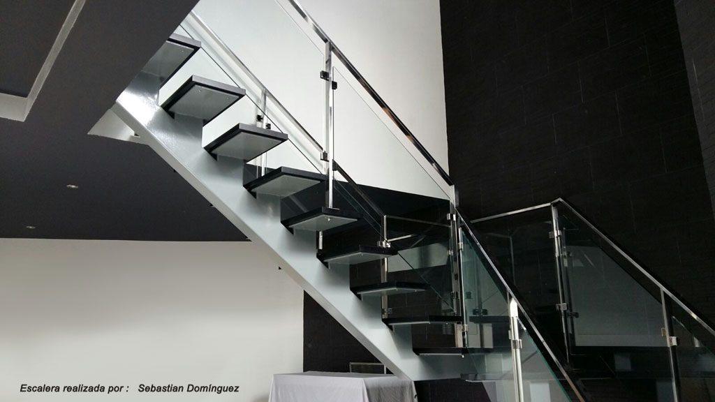 Escalera con pelda os de madera n 5 acero inoxidable - Escaleras de peldanos ...