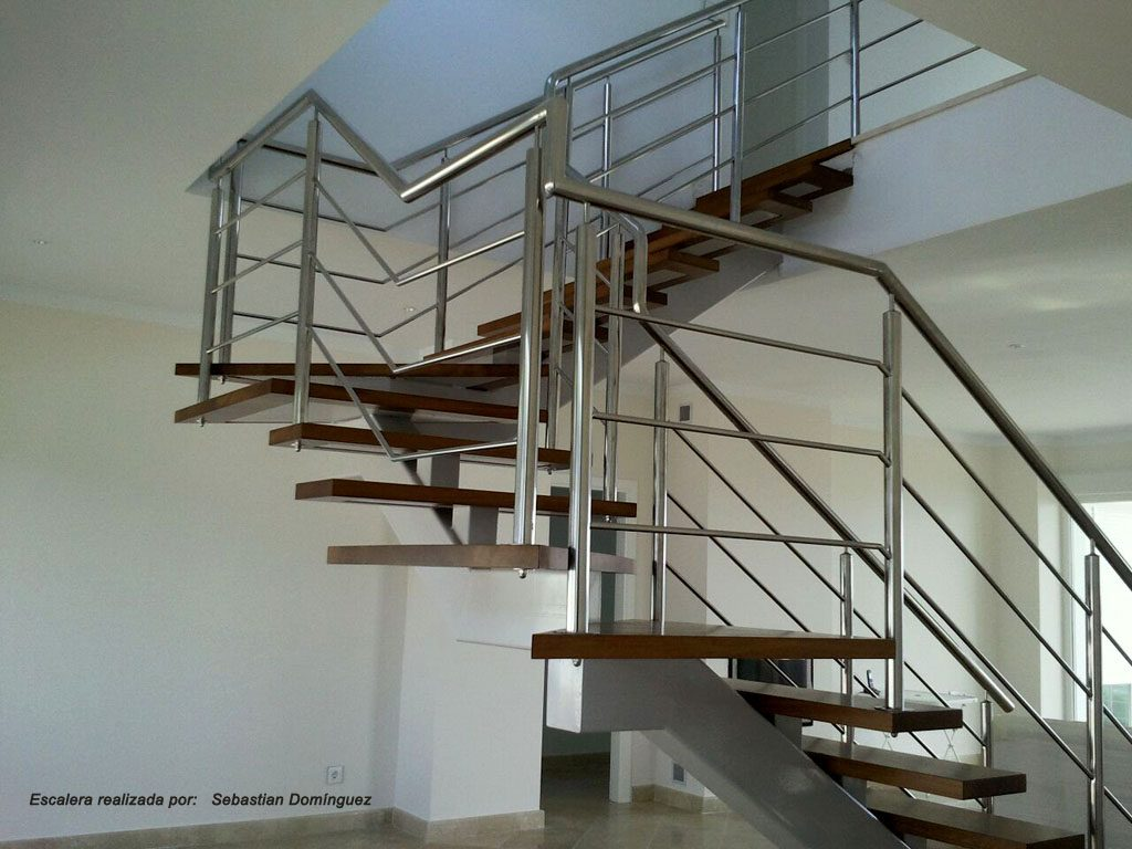 Escalera con pelda os de madera n 7 acero inoxidable - Escaleras de peldanos ...