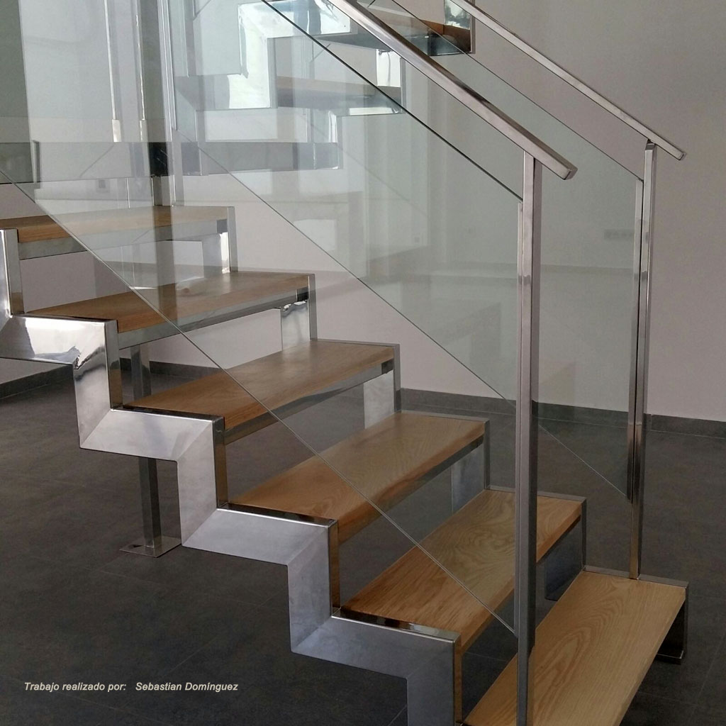 Escalera con pelda os de madera n 9 acero inoxidable - Escaleras de peldanos ...