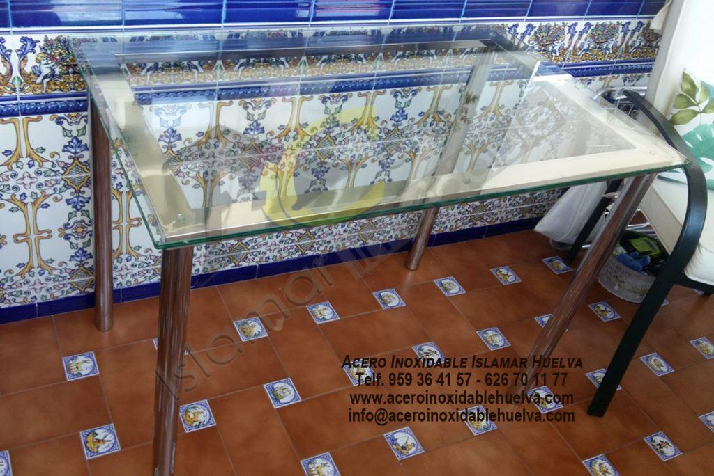 Mesa en Acero Inoxidable y tapa Cristal-Islamar Huelva