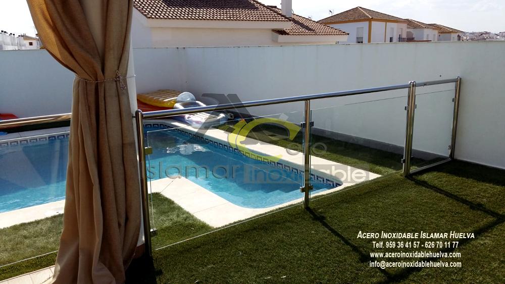Barandilla piscina Acero Inoxidable y vidrios-Islamar Huelva