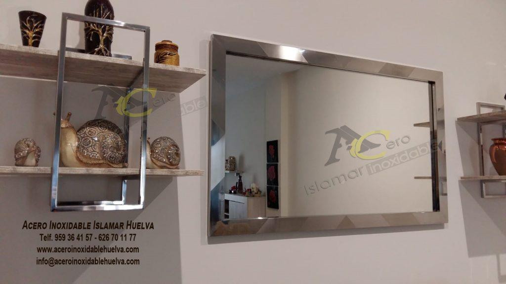 Marco espejo en Acero Inoxidable viselado - Islamar Huelva