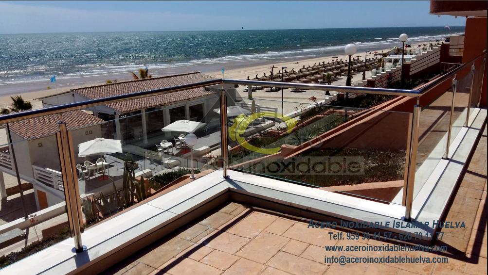 Baranda en Acero Inoxidable y Vidrios para Terraza – Inoxidables Islamar Huelva